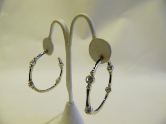 Real Collectibles by Adrienne Real Collectibles by Adrienne Black Enamel Simulated Diamond Hoop Pierce Earrings Image 1