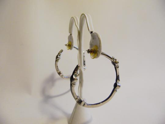 Real Collectibles by Adrienne Real Collectibles by Adrienne Black Enamel Simulated Diamond Hoop Pierce Earrings Image 4
