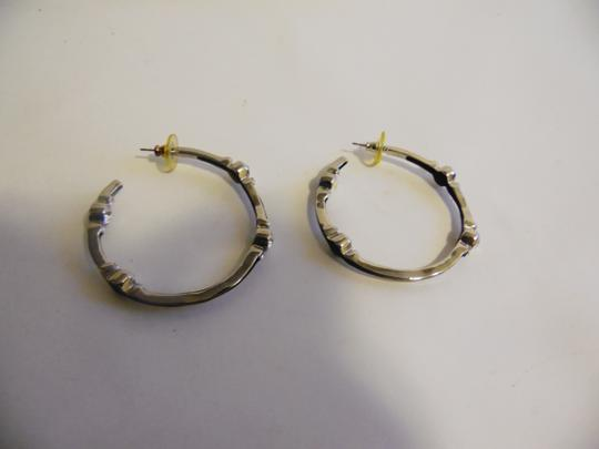 Real Collectibles by Adrienne Real Collectibles by Adrienne Black Enamel Simulated Diamond Hoop Pierce Earrings Image 7