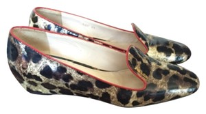 Prada Patent Leather Loafer Cheetah Leopard Smoke Slipper Wedges