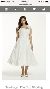 David's Bridal Tea Length Plus Size Wedding Dress With Shrug Wedding Dress