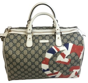 Gucci Satchel in White Red Blue Tan