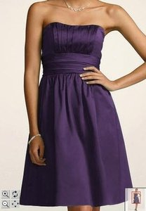 David's Bridal Purple Cotton Sateen Strapless with Ruching and Pockets S Traditional Bridesmaid/Mob Dress Size 4 (S)