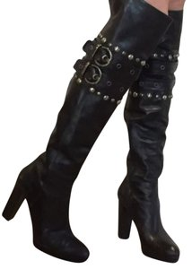 Stuart Weitzman Over The Knee Studded Carnaby Black Boots