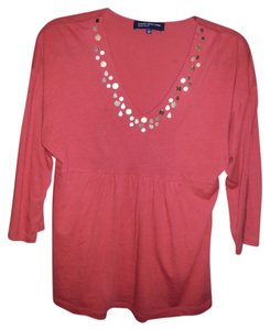 Jones New York Orange V-neck Beads Top