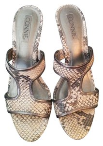Connie Grey Snake Print Sandals