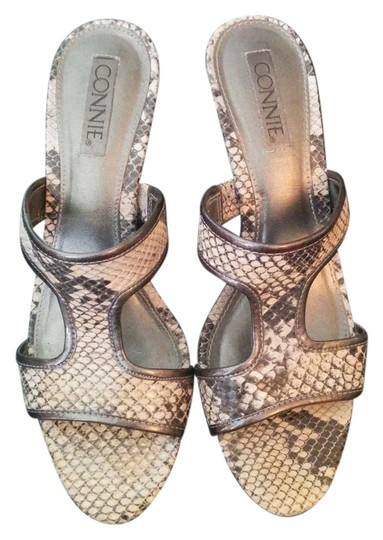 Connie Grey Snake Print Sandals Image 0