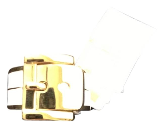 Item - White and Gold Gold/White Enamel Buckle Ring