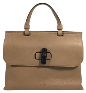 Gucci Bamboo Leather Top Satchel in Sand