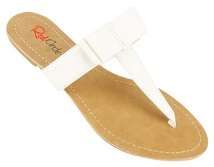 Red Circle Footwear Bow Casual Summer Cute White Sandals