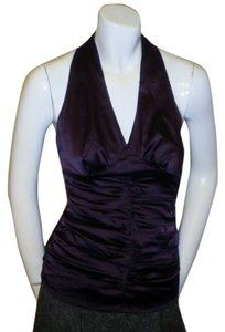 Express Dark Plum Purple Halter Top