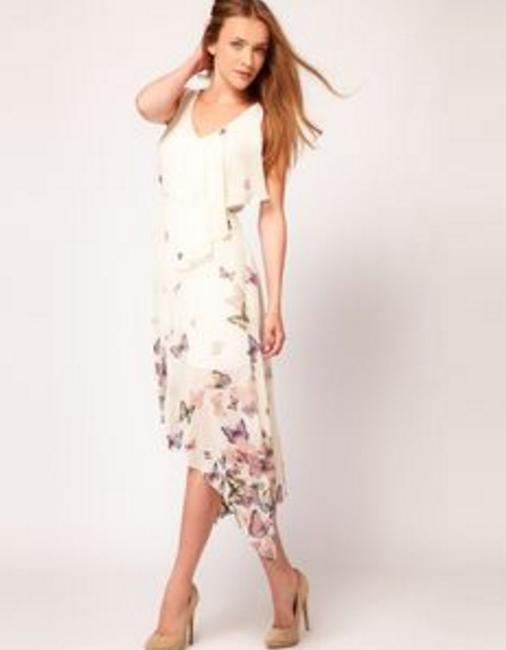 Cream Maxi Dress by ASOS Butterfly Midi High-low