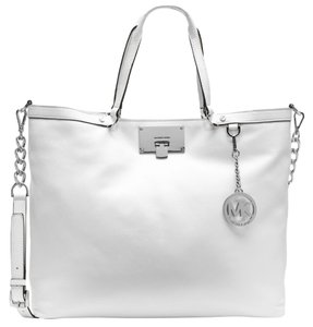 Michael Kors Jet Set Cross Body Leather Tote in White