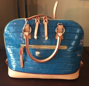 Dooney & Bourke Burke Logo Satchel in blue