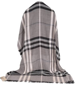 Burberry New Burberry $395 Wool Silk Charcoal Grey Beat Nova Check Gauze XL Scarf Shawl