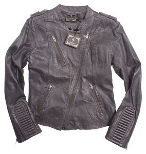 Romeo & Juliet Couture Leather Lambskin Scuba Gray Leather Jacket