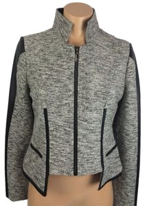 Stella & Jamie Leather Tweed Metallic Chic White, Black Blazer