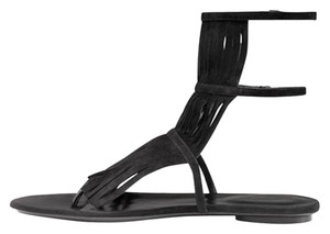 Gucci Becky Fringe Suede Sale Clearance Black Sandals