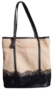 Other Cute Tote in Straw & black lace
