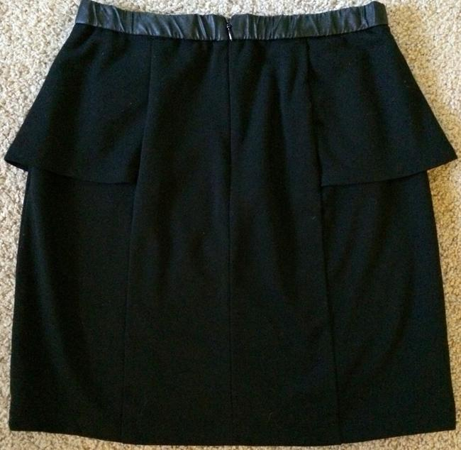 Forever 21 Peplum Business Work Leather Trim Leather Skirt Black