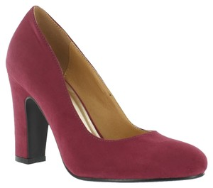 Red Circle Footwear Chunky Heel Wine Pumps