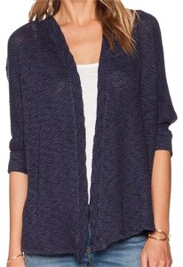 Velvet by Graham & Spencer Crochet Open Front Navy Cardigan