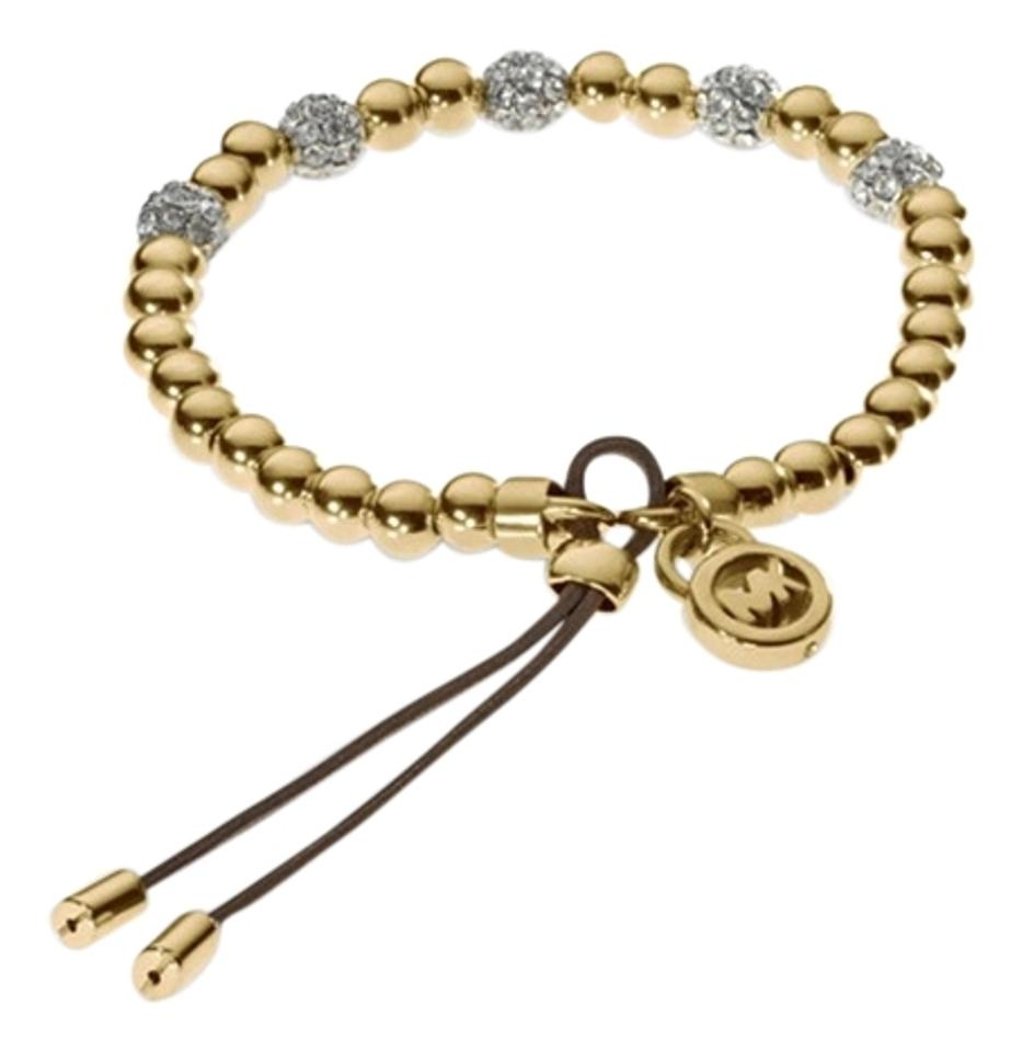 Michael Kors Gold Tone Bead Stretch Bracelet