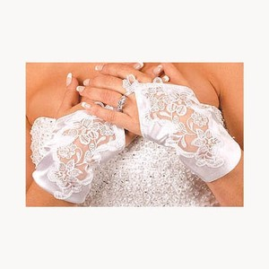 Elegance By Carbonneau Fingerless White Satin Embroidered Bridal Wrist Gloves - 9134-2wh