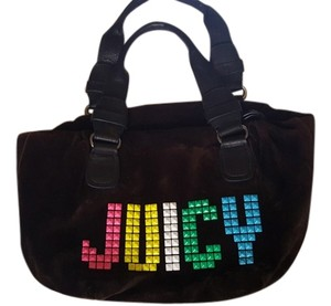 Juicy Couture Studded Pixels Neon Velour Satchel in Black and Multi