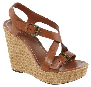 Ralph Lauren Leather Strappy Brown Wedges