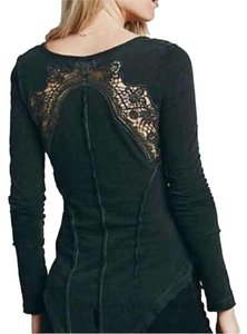 Free People Henley Longsleeve Cotton Crochet Vintage Boho Bohemian Top Black