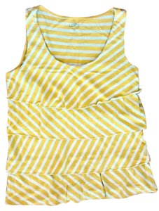 Ann Taylor LOFT Striped Top Chartreuse and White