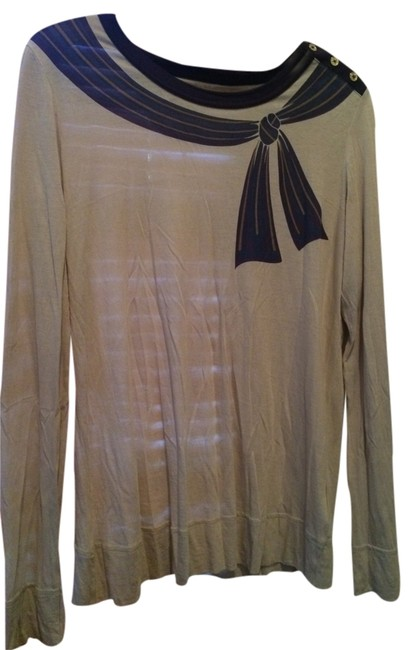 Item - Beige Ribbon Preppy Tee Shirt Size 6 (S)