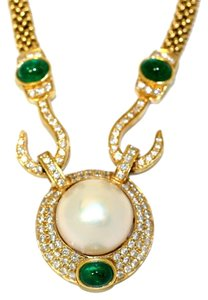 Emerald Cabotion Brilliant Emerald Diamond Necklace