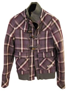 Billabong Plaid Purple Coat Sale Jacket