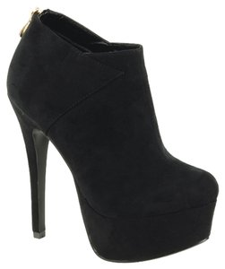Red Circle Footwear Two-tone Patches Hi Heel Platform Black Boots