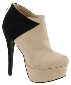 Red Circle Footwear Two-tone Patches Hi Heel Platform Nude Boots