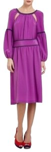 BCBGMAXAZRIA Festive Peasant Silk Magenta Dress