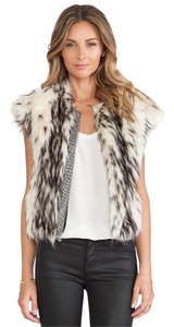Twelfth St. by Cynthia Vincent Faux Fur Chainmail Chain Vest Jacket