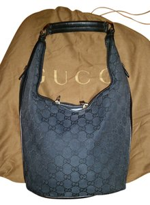 Gucci Canvas Leather Mix Gold Furnishings Mid-sized Made In Italy Hobo Bag