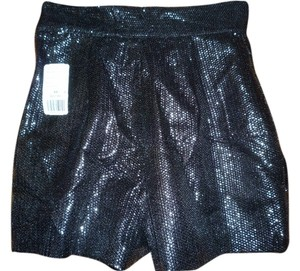 Forever 21 Twist High Waisted Sequined Dress Shorts Black