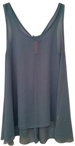 Final Touch Sheer Loose Flowy Teal Sleeveless Top Turquoise