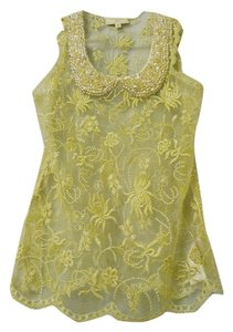 Moulinette Soeurs Anthropologie Embroidered Sheer Holiday Party Top Ivory, Gold