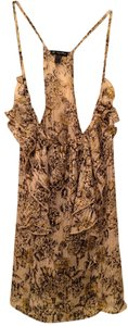 Lily White Floral Ruffled Sheer Tank Top Black, White, Yellow