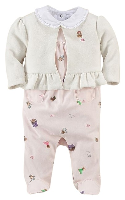 Item - Pink Baby Girls 3 Pc Coverall Cardigan Bodysuit Yorkie Set 9 Months Romper/Jumpsuit