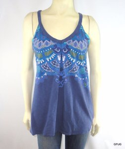Athleta Athleta Blue Art Print Workout Fitness Tank Top Shirt Built-in Bra Shelf