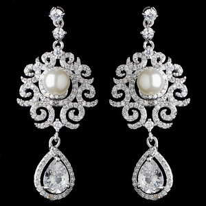 Elegance By Carbonneau Pearl And Cz Vintage Inspired Bridal Earrings