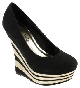 Red Circle Footwear Sexy High Pump Black Wedges
