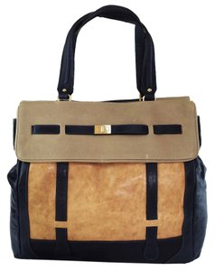 Be&D Celia Colorlock Beige Blue Satchel in tan/orange/blue
