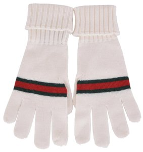 Gucci New Gucci Men's $175 294732 White Green Red Stripe Wool Gloves Mittens SMALL
